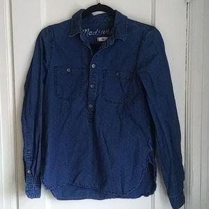 Madewell Chambray Polka Dot Shirt